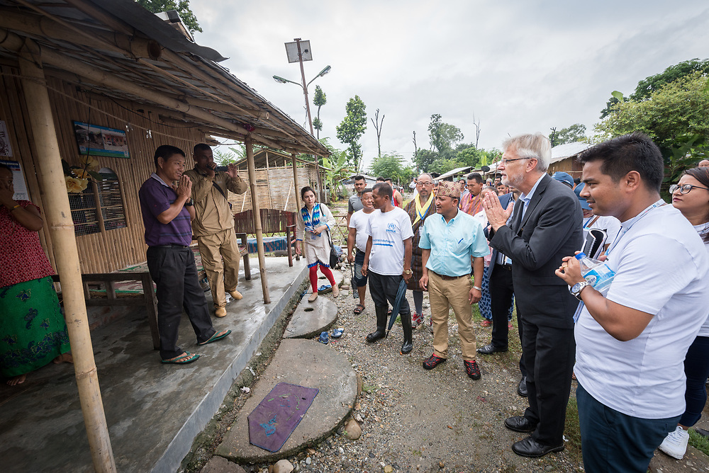 14 September 2018, Damak, Nepal:  Lutheran World Federation general secretary Rev. Dr Martin Junge visits a home in the Beldangi refugee camp. Supported by the Lutheran World Federation, the Beldangi refugee camp in the Jhapa district of Nepal hosts more than 5,000 Bhutanese refugees.