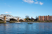 Barnes Greater London. 1st March 2020, Pre Boat Race Fixture,  Cambridge University Boat Club, Blue Boat and Oxford Brookes, racing on the Chiswick Bend,  Barnes Rail Bridge,  Championship Course, Putney to Mortlake, River Thames, [Mandatory Credit: Peter SPURRIER/Intersport Images],