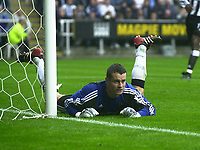 Photo. Glyn Thomas<br />Newcastle United v Bolton Wanderers. <br />Barclaycard Premiership.<br />St James' Park, Newcastle. 20/09/2003.<br />Newcastle keeper Shay Given, who was forced to make a number of excellent saves to salvage his team a point.