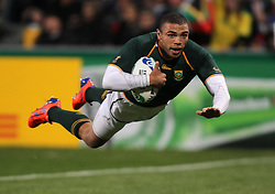 South Africa's Bryan Habana scores his sides second try during the Pool D match at North Harbour Stadium, Auckland, New Zealand,
