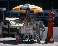 Sabrett hotdog cart in New York City, 1980.