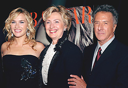 Cast members Kate Winslet and Dustin Hoffman flank Senator Hillary Rodham Clinton (D - NY) as they arrive at the ïFinding Neverland' premiere, held at the Brooklyn Museum in New York, on Monday, October 25, 2004. Photo by Nicolas Khayat/ABACA.