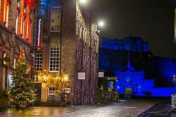 31DEC20 Castlehill and the Castle, Edinburgh on Hogmanay.