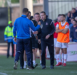 Raith Rovers manager Barry Smith  and Airdrie's manager Steve Findlay at the end. Airdrie 3 v 4 Raith Rovers, Scottish Football League Division One played 25/8/2018 at the Excelsior Stadium.