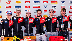 22.02.2019, Seefeld, AUT, FIS Weltmeisterschaften Ski Nordisch, Seefeld 2019, Skisprung, Herren, Pressekonferenz, im Bild Stefan Kraft (AUT), Michael Hayboeck (AUT), Jan Hoerl (AUT), Manuel Fettner (AUT), Daniel Huber (AUT), Cheftrainer Andreas Felder (AUT) // Stefan Kraft (AUT) Michael Hayboeck (AUT) Jan Hoerl (AUT) Manuel Fettner (AUT) Daniel Huber (AUT) Cheftrainer Andreas Felder (AUT) during a press conference of ski jumping team of the FIS Nordic Ski World Championships 2019. Seefeld, Austria on 2019/02/22. EXPA Pictures © 2019, PhotoCredit: EXPA/ JFK