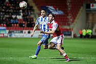Brighton & Hove Albion winger Anthony Knockaert (11) watches the ball as Jon Taylor (Rotherham United) runs in front of him during the EFL Sky Bet Championship match between Rotherham United and Brighton and Hove Albion at the AESSEAL New York Stadium, Rotherham, England on 7 March 2017. Photo by Mark P Doherty.