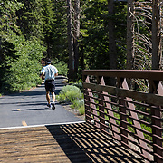 Bike riders, walkers and runners take advantage of the miles long Lakes Basin path, part of the Mammoth Trail System, as it links town with the Lakes Basin recreational area..