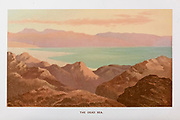 Coloured Illustration of Dead Sea from the book Palestine illustrated by Sir Richard Temple, 1st Baronet, GCSI, CIE, PC, FRS (8 March 1826 – 15 March 1902) was an administrator in British India and a British politician. Published in London by W.H. Allen & Co. in 1888