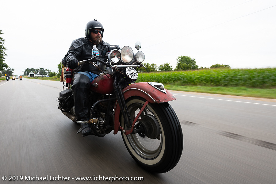 Richard Kaylor riding his 1948 Harley-Davidson Panhead in the Cross Country Chase motorcycle endurance run from Sault Sainte Marie, MI to Key West, FL (for vintage bikes from 1930-1948). Stage 3 from Milwaukee, WI to Urbana, IL. USA. Sunday, September 8, 2019. Photography ©2019 Michael Lichter.