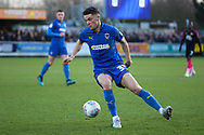 AFC Wimbledon midfielder Callum Reilly (33) dribbling during the EFL Sky Bet League 1 match between AFC Wimbledon and Peterborough United at the Cherry Red Records Stadium, Kingston, England on 18 January 2020.