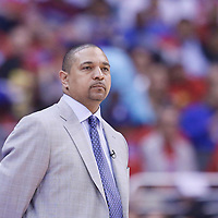 21 April 2014: Golden State Warriors head coach Mark Jackson is seen during the Los Angeles Clippers 138-98 victory over the Golden State Warriors, during Game Two of the Western Conference Quarterfinals of the NBA Playoffs, at the Staples Center, Los Angeles, California, USA.