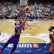 UNCASVILLE, CONNECTICUT- JULY 15: Kristi Toliver #20 of the Los Angeles Sparks drives to the basket during the Los Angeles Sparks Vs Connecticut Sun, WNBA regular season game at Mohegan Sun Arena on July 15, 2016 in Uncasville, Connecticut. (Photo by Tim Clayton/Corbis via Getty Images)