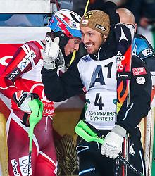 26.01.2016, Planai, Schladming, AUT, FIS Weltcup Ski Alpin, Schladming, Slalom, Herren, 2. Durchgang, im Bild v.l.: Henrik Kristoffersen (NOR), Marcel Hirscher (AUT) // f.l.t.r.: Henrik Kristoffersen of Norway Marcel Hirscher of Austria celebrates after their 2nd run of men's Slalom Race of Schladming FIS Ski Alpine World Cup at the Planai in Schladming, Austria on 2016/01/26. EXPA Pictures © 2016, PhotoCredit: EXPA/ JOHANN GRODER