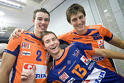 Alen Pajenk, Ales Fabjan and Matevz Kamnik at press conference of volleyball club ACH Volley before new season 2009/2010,  on September 28, 2009, in Ljubljana, Slovenia.  (Photo by Vid Ponikvar / Sportida)