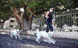 SOUTH AFRICA - Durban - 10 May 2020 - Jogger Delyn Massachuttes with her dogs Tommy and Indigo took to the streets of Morningside on the first day of the Level Four lockdown restrictions which allow walking, excercise or jogging between 6am and 9am.<br /> Picture: Motshwari Mofokeng/African News Agency (ANA)