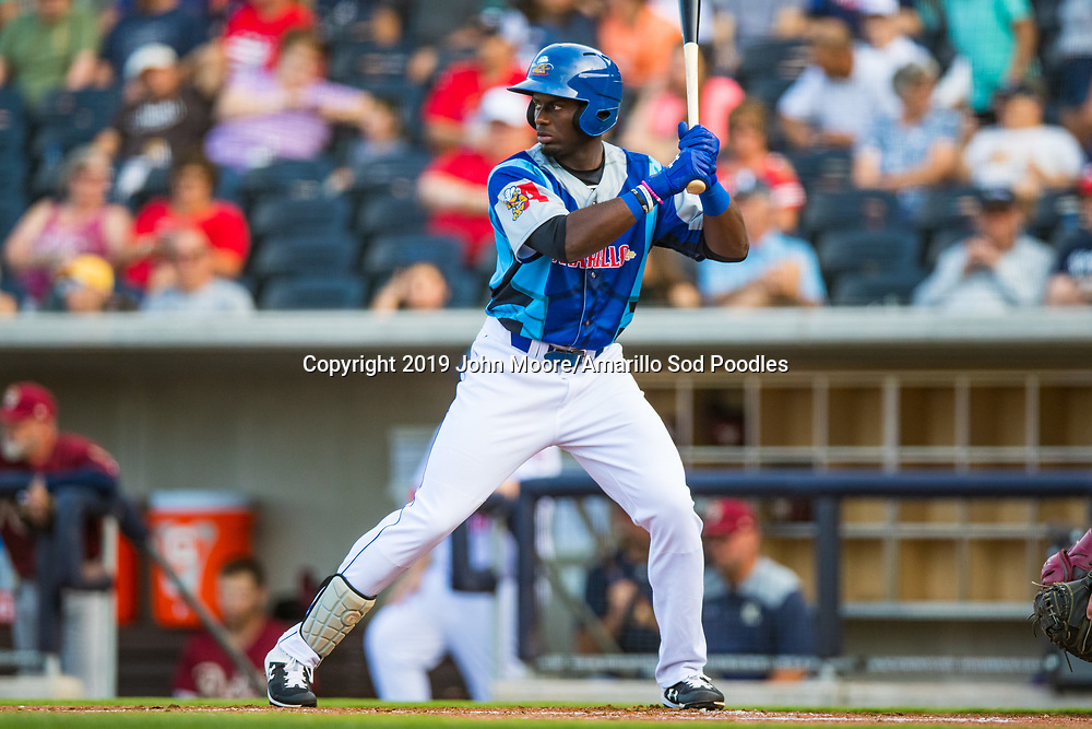 Amarillo Sod Poodles outfielder Taylor Trammell (7) bats against the Frisco RoughRiders on Saturday, Aug. 3, 2019, at HODGETOWN in Amarillo, Texas. [Photo by John Moore/Amarillo Sod Poodles]