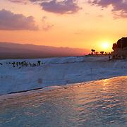 Pamukkale travertine at sunset, Turkey