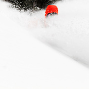 Lynsey Dyer getting some of her own face shots in the Teton backcountry.