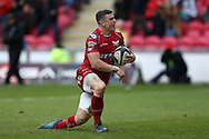 Scott Williams of the Scarlets celebrates after he scores a try in the 2nd half.  European rugby Champions cup match, pool 3, Scarlets  v Saracens at the Parc y Scarlets in Llanelli, West Wales on Sunday 15th January 2017.<br /> pic by  Andrew Orchard, Andrew Orchard sports photography.