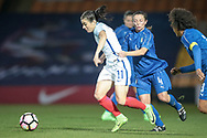 Karen Carney (England) (Chelsea) is pulled back by Daniela Stracchi (Italy) (Mozzanica) during the Women's International Friendly match between England Ladies and Italy Women at Vale Park, Burslem, England on 7 April 2017. Photo by Mark P Doherty.