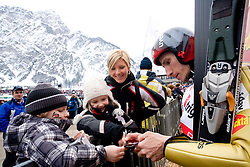 Robert Kranjec of Slovenia with fans during Flying Hill Individual Qualifications at 1st day of FIS Ski Flying World Championships Planica 2010, on March 18, 2010, Planica, Slovenia.  (Photo by Vid Ponikvar / Sportida)