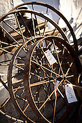Wagon wheels for Amish buggies ready for auction during the Annual Mud Sale to support the Fire Department  in Gordonville, PA.