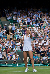 LONDON, ENGLAND - Tuesday, July 2, 2019: Johanna Konta (GBR) celebrates winning her match during the Ladies' Singles first round match on Day Two of The Championships Wimbledon 2019 at the All England Lawn Tennis and Croquet Club. (Pic by Kirsten Holst/Propaganda)