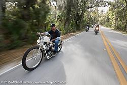 Riding through Tamoka State Park during Daytona Beach Bike Week 2015. FL, USA. March 13, 2015.  Photography ©2015 Michael Lichter.