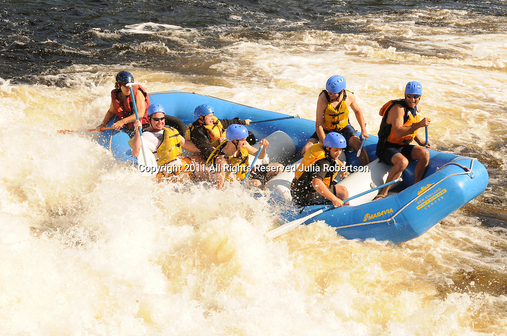 aerial view of white water rafting,