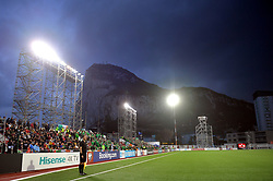 General view of the away fans in the stands during the UEFA Euro 2020 Qualifying, Group D match at the Victoria Stadium, Gibraltar.