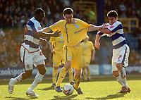 Photo: Tony Oudot.<br />Queens Park Rangers v Sheffield Wednesday. Coca Cola Championship. 10/03/2007.<br />Steve Maclean of Sheffield Wednesday goes past Damion Stewart and Adam Bolder of QPR