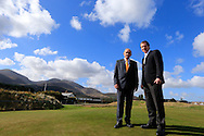 Colm McLoughlin, Executive Vice Chairman, Dubai Duty Free,   George O'Grady, Chief Executive, European Tour, at the announcement of title sponsor for the Irish Open  to be the Dubai Duty Free Irish Open, to be held at Royal Co Down Golf Club, Newcastle, Co Down, Northern Ireland.<br /> Picture: Fran Caffrey / Golffile