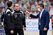 Tolga Sahin, Gianmarco Pozzecco<br /> Banco di Sardegna Dinamo Sassari - Segafredo Virtus Bologna<br /> Legabasket LBA Serie A UnipolSai 2020-2021<br /> Sassari, 03/04/2021<br /> Foto L.Canu / Ciamillo-Castoria