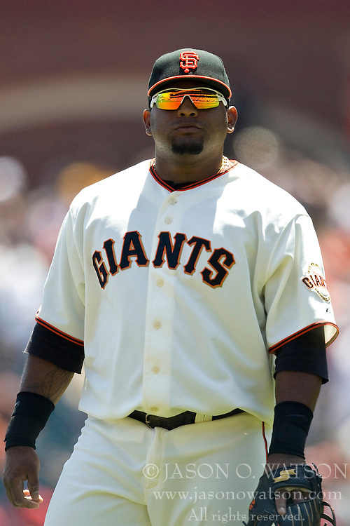 April 25, 2010; San Francisco, CA, USA;  San Francisco Giants third baseman Pablo Sandoval (48) during the first inning against the St. Louis Cardinals at AT&T Park. St. Louis defeated San Francisco 2-0.