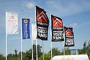 Advertising flags for used Citroen vehicles. Car sales dealership, Ransomes Europark, Ipswich, Suffolk, England