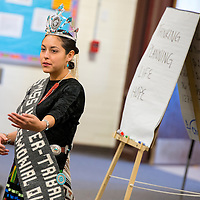 101713       Brian Leddy<br /> Miss Gallup Intertribal Indian Ceremonial Queen Cody Jansen speaks to students at Tohatchi High School. Thursday.
