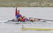 Marathon, GREECE, FRA M2X. Bow, Julien BAHAIN and Julien DESPRES winning the Gold medal  in the men's double sculls, at the FISA European Rowing Championships.  Lake Schinias Rowing Course, SAT. 20.09.2008  [Mandatory Credit Peter Spurrier/ Intersport Images] , Rowing Course; Lake Schinias Olympic Rowing Course. GREECE