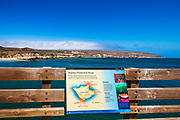 Interpretive sign for the marine protected areas on Santa Rosa Island, Channel Islands National Park, California USA