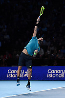 Tennis - 2019 Nitto ATP Finals at The O2 - Day Five<br /> <br /> Singles Group Bjorn Borg: Dominic Thiem (Austria) vs. Matteo Berrettini (Italy)<br /> <br /> Matteo Berrettini serves during his 2 set victory over Dominic Thiem, 7-6, 6-3<br /> <br /> COLORSPORT/ASHLEY WESTERN