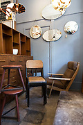 Vintage furniture on display at Atomic Antiques on 14th October 2015 in London, United Kingdom. Atomic Antiques is based on Shoreditch High Street in East London