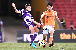 January 18, 2018 - Brisbane, QUEENSLAND, AUSTRALIA - Chris Harold of the Glory (#14, left) and Connor O'Toole of the Roar (#24) compete for the ball during the round seventeen Hyundai A-League match between the Brisbane Roar and the Perth Glory at Suncorp Stadium on January 18, 2018 in Brisbane, Australia. (Credit Image: © Albert Perez via ZUMA Wire)