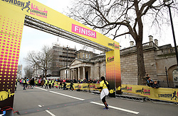 A runner completes the 2018 London Landmarks Half Marathon. PRESS ASSOCIATION Photo. Picture date: Sunday March 25, 2018. Photo credit should read: Steven Paston/PA Wire