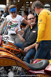 Klock Werks' Brian Klock with Andrea Labarbara and Bob Zeolla at the Perewitz Paint Show at the Iron Horse Saloon during the Sturgis Black Hills Motorcycle Rally. SD, USA. Wednesday, August 7, 2019. Photography ©2019 Michael Lichter.