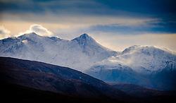 Rugged snow capped mountains tower over Loch Etive in Glen Etive, Highlands of Scotland<br /> <br /> (c) Andrew Wilson | Edinburgh Elite media