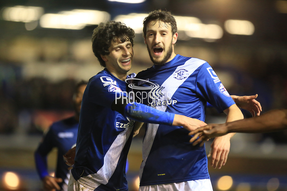 Diego Fabbrini, Will Buckley celebrate Clayton Donaldson Goal during the Sky Bet Championship match between Birmingham City and Bolton Wanderers at St Andrews, Birmingham, England on 23 February 2016. Photo by Daniel Youngs.