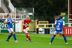 Jemma Purfield of Bristol City Women passes the ball upfield- Mandatory by-line: Will Cooper/JMP - 18/10/2020 - FOOTBALL - Twerton Park - Bath, England - Bristol City Women v Birmingham City Women - Barclays FA Women's Super League