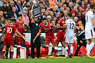 Alex Oxlade-Chamberlain of Liverpool (c) enters the field of play as a second half substitute. Premier League match, Liverpool v Burnley at the Anfield stadium in Liverpool, Merseyside on Saturday 16th September 2017.<br /> pic by Chris Stading, Andrew Orchard sports photography.