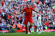 Steven Gerrard of Liverpool legends team celebrates after scoring his teams 4th goal. Liverpool Legends  v Real Madrid Legends, Charity match for the LFC Foundation at the Anfield stadium in Liverpool, Merseyside on Saturday 25th March 2017.<br /> pic by Chris Stading, Andrew Orchard sports photography.
