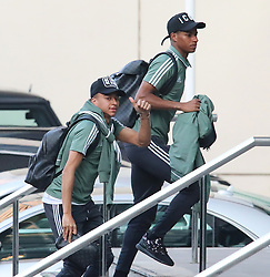 14.4.18….. The Manchester United team arrive at The Lowry Hotel on Saturday evening to prepare for their home game against West Brom on Sunday afternoon……. Jesse Lingard and Marcus Rashford.