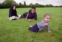 Mother and father watching young son crawl across grass in park,